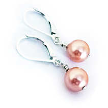 Swarovski Pearl Earrings - Peach for Uterine Cancers