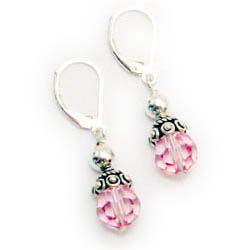 Pink Crystal Round Earrings