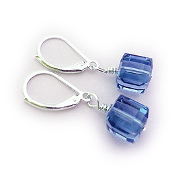 Blue for Colon Cancer Crystal Earrings - Sterling Silver