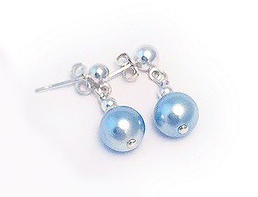 Light Blue Pearl Earrings