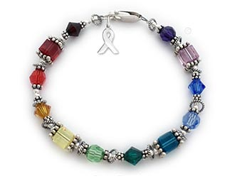 This All Cancer Ribbon Bracelet has 6mm round, 6mm square and 6mm bicone Swarovski crystals shown with most of my crystal cancer colors. You choose the cancer/color(s) and the clasp style during the ordering process.