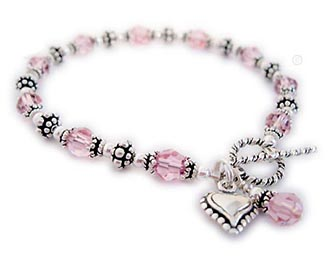 Cancer Awareness Heart Bracelet with Heart Charm and Pink Crystal Dangle - CBB-R53