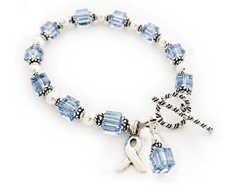 The bracelets, necklaces and earrings I designed and created are intended to provide inspiration, hope and strength to prostate cancer patients, past and present, and to their family and friends. Feel free to contact us with any questions. Light Blue Crystal Ribbon Jewelry and light blue ribbon charms symbolize childhood cancers, prostate cancers, pro-choice, Trisomy 18, scleroderma and more...