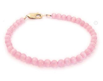Gold & Pink Cat's Eye Bead Bracelet for Breast Cancer Awareness