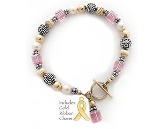 Gold Breast Cancer Awareness Bracelet with a Gold Ribbon Charm
