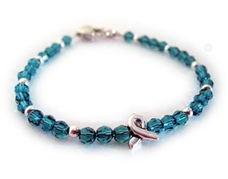 Ovarian and Uterine Ribbon Bracelet with Ribbon Charm (Teal)
