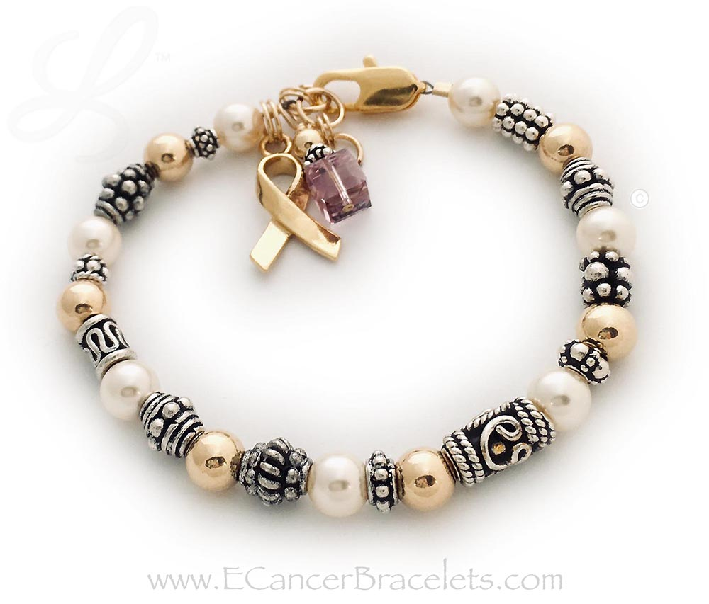 This bracelet comes with the Violet Crystal Dangle and Gold Ribbon Charm. This bracelet is shown with a gold lobster claw clasp. A violet crystal dangle is shown. Violet Ribbon Bracelets symbolize Craniosynostosis awareness, Epilepsy awareness, Gynecological Cancer, Hypokalemic Periodic Paralysis, Infantile Spasms, Rett Syndrome...