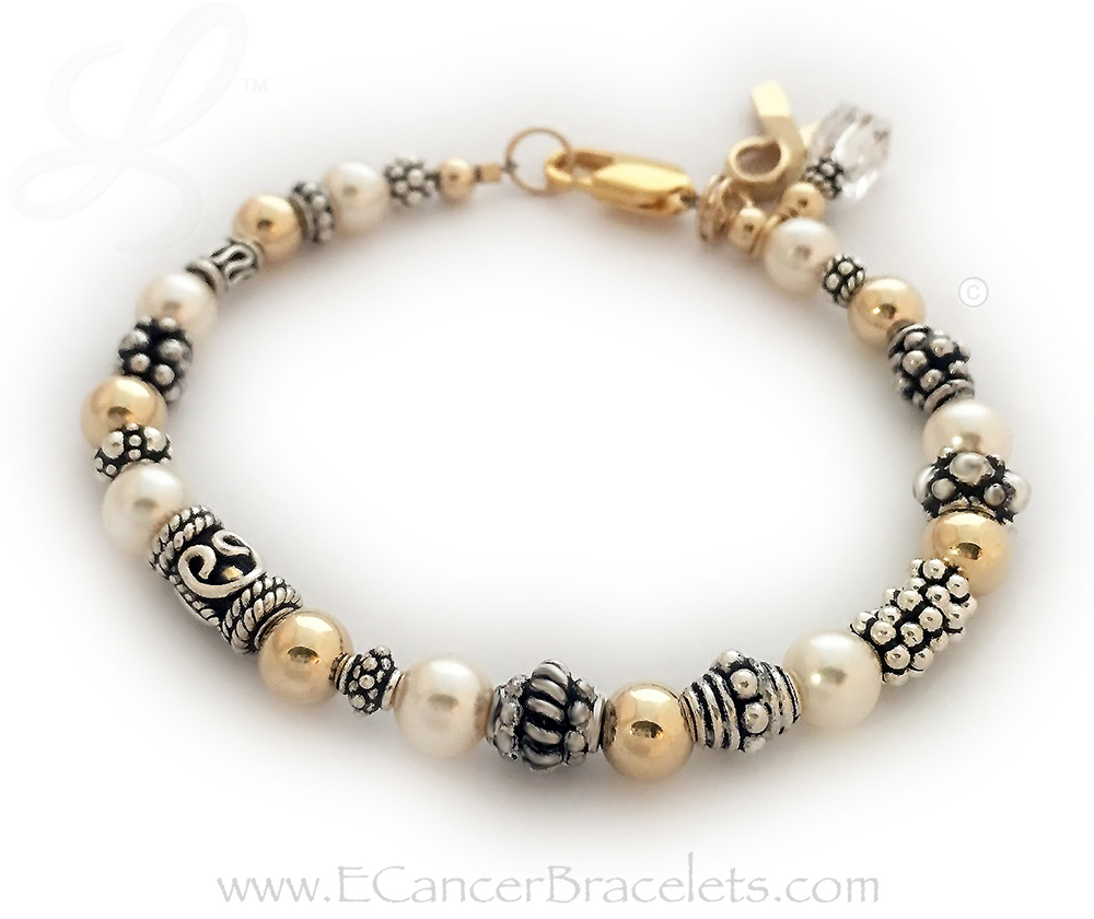 This bracelet comes with the any color crystal dangle (clear shown) and Gold Ribbon Charm. This bracelet is shown with a 14k gold-plated Lobster Claw clasp. Clear Crystals - Lung Cancer Ribbon Bracelet or Bone Cancer Ribbon Bracelet