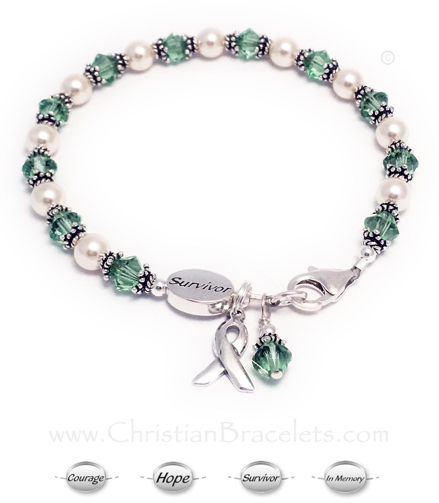Leukemia Survivor Ribbon Bracelet Shown with add-on: SURVIVOR bead Crystals: Bicone/Diamond Color: Light Green