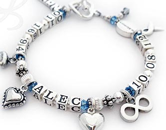 Brain Cancer Grey Ribbon Bracelet This life time bracelet is shown Alec and with March Birthstone crystals and a Grey Crystal Charm for Brain Cancer.   Charms added during the ordering process: Navy, Football, Beaded Heart, (regular) Puffed Heart and Infinity. The Ribbon Charm and Crystal angle are included in the price. They also upgraded to thee Heart Toggle Clasp. Size: 7 1/2""