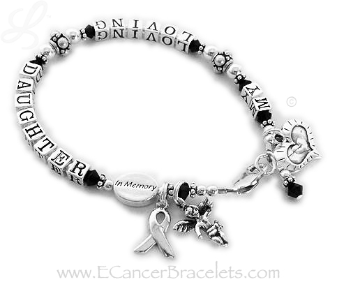 In Memory of My Loving Daughter with an In Memory Bead, Angel with Wings charm and a Heart within a Heart charm.