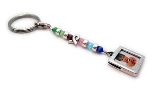 Cat's Eye Ribbon Key Chain Charm with Picture Frame Charm