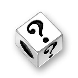 Questions Mark Sterling Silver Block Letter Bead