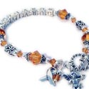 Luekemia Awareness Bracelet with an Angel with Wings Charm and a Ribbon Charm