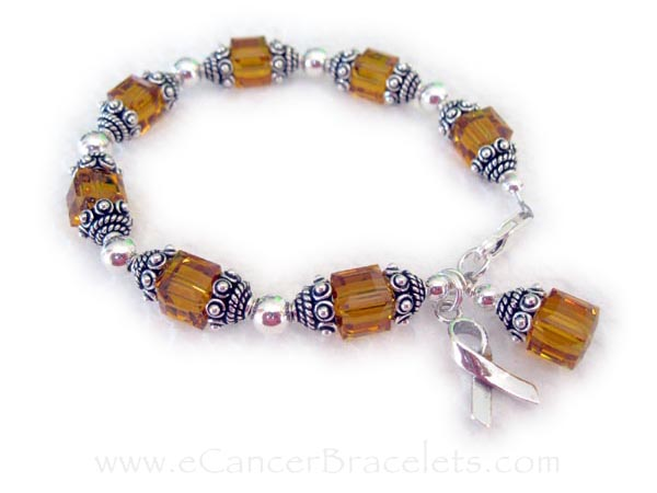 Leukemia Survivor Bracelet - Shown with orange or November Swarovski crystals and a ribbon charm. CBB-R34