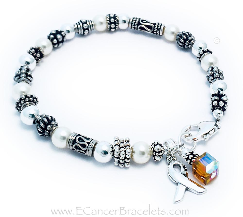 Leukemia Orange Ribbon Bracelet  Shown with an Orange Charm for Leukemia, Ribbon Charm & lobster claw clasp.