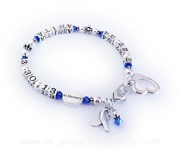 Anita lifetime bracelet - CBB-LIFETIME/sterling - September Birthstones This Life time / In Memory bracelet is shown with September crystals and 2 add-ons; Open Heart Charm and a an upgraded Heart Lobster claw clasp.