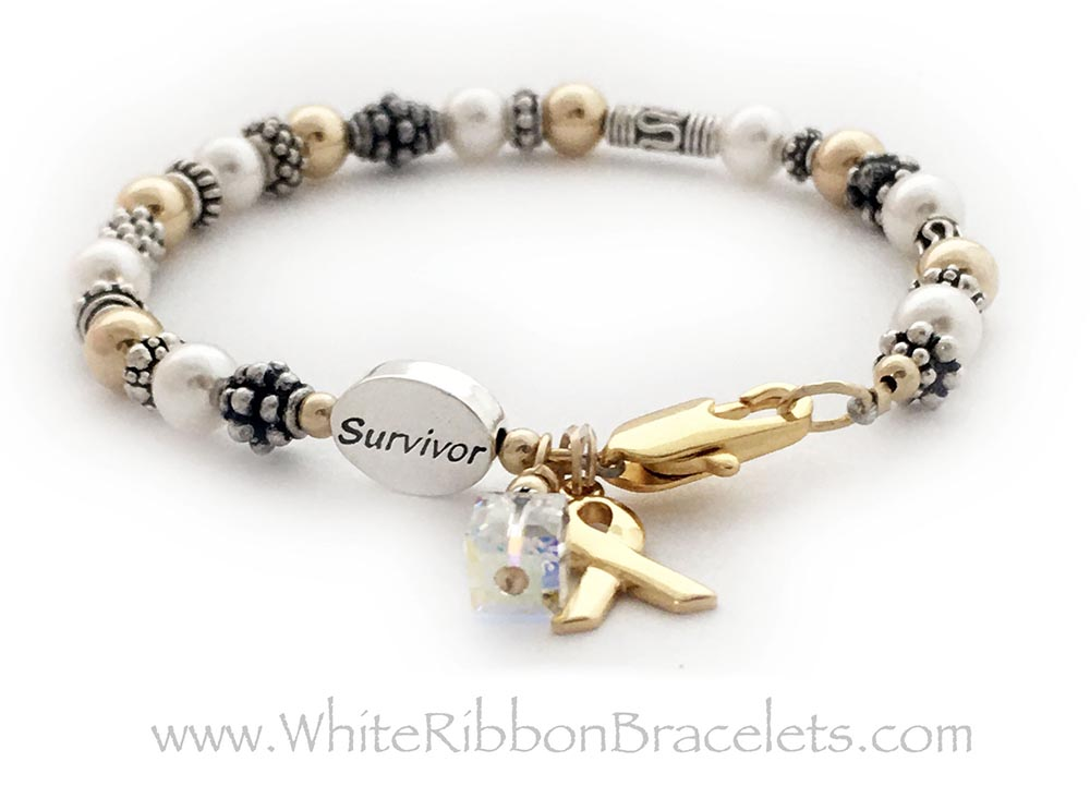 CBB-Ribbon 42Gold This bracelet comes with the any color crystal dangle (Clear is shown for a Lung Cancer Survivor)and Gold Ribbon Charm. This bracelet is shown with a 14k gold-plated Lobster Claw clasp. They added a Survivor Bead.