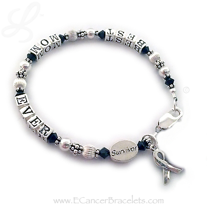 Best Mom Ever Survivor Bracelet with a Birthstone Charm