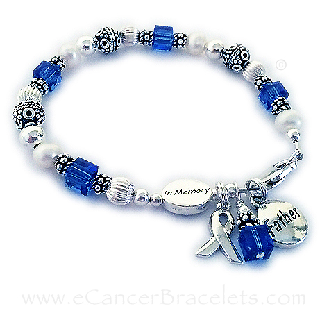 In Memory of a Father Bracelet with an In Memory Bead and a Father Charm