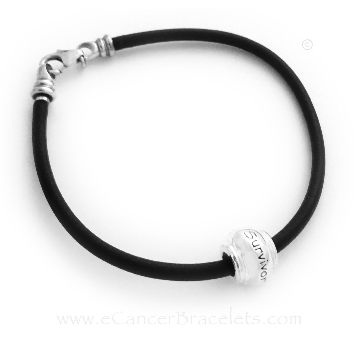 Survivor Bracelet for a man or women - Black Leather bracelet with a large sterling silver SURVIVOR bead.