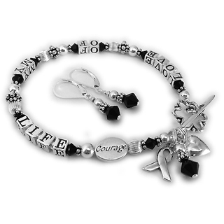 LOVE OF MY LIFE Bracelet with a COURAGE bead, ribbon charm, puffed heart charm, black crystals and a flower clasp. CBB-R24