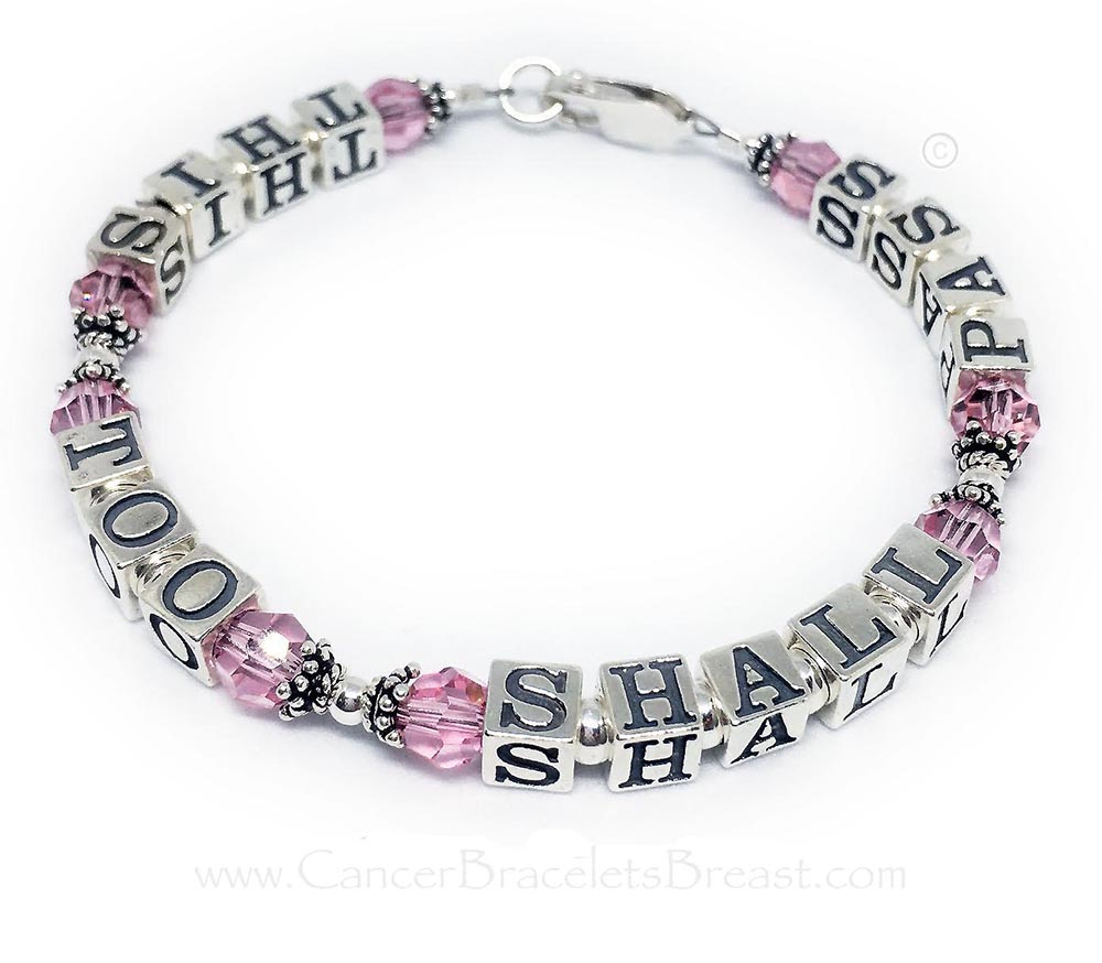 Message on Bracelet - THIS TOO SHALL PASS bracelet with pink crystals and a lobster claw clasp.