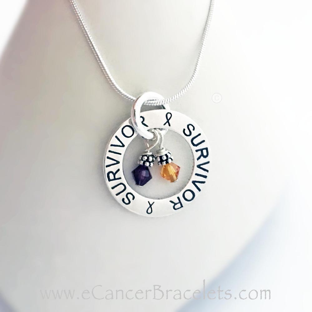 CBB-N-Survivor-04  This Survivor Survivor Necklace is shown with 2 Cancer Awareness Charms: Purple and Orange for Pancreatitis and Leukemia Awareness