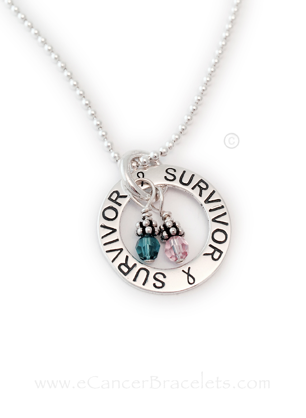 This Survivor Survivor Necklace is shown with 2 Cancer Awareness Charms: Teal and Pink for Ovarian and Breast Cancers