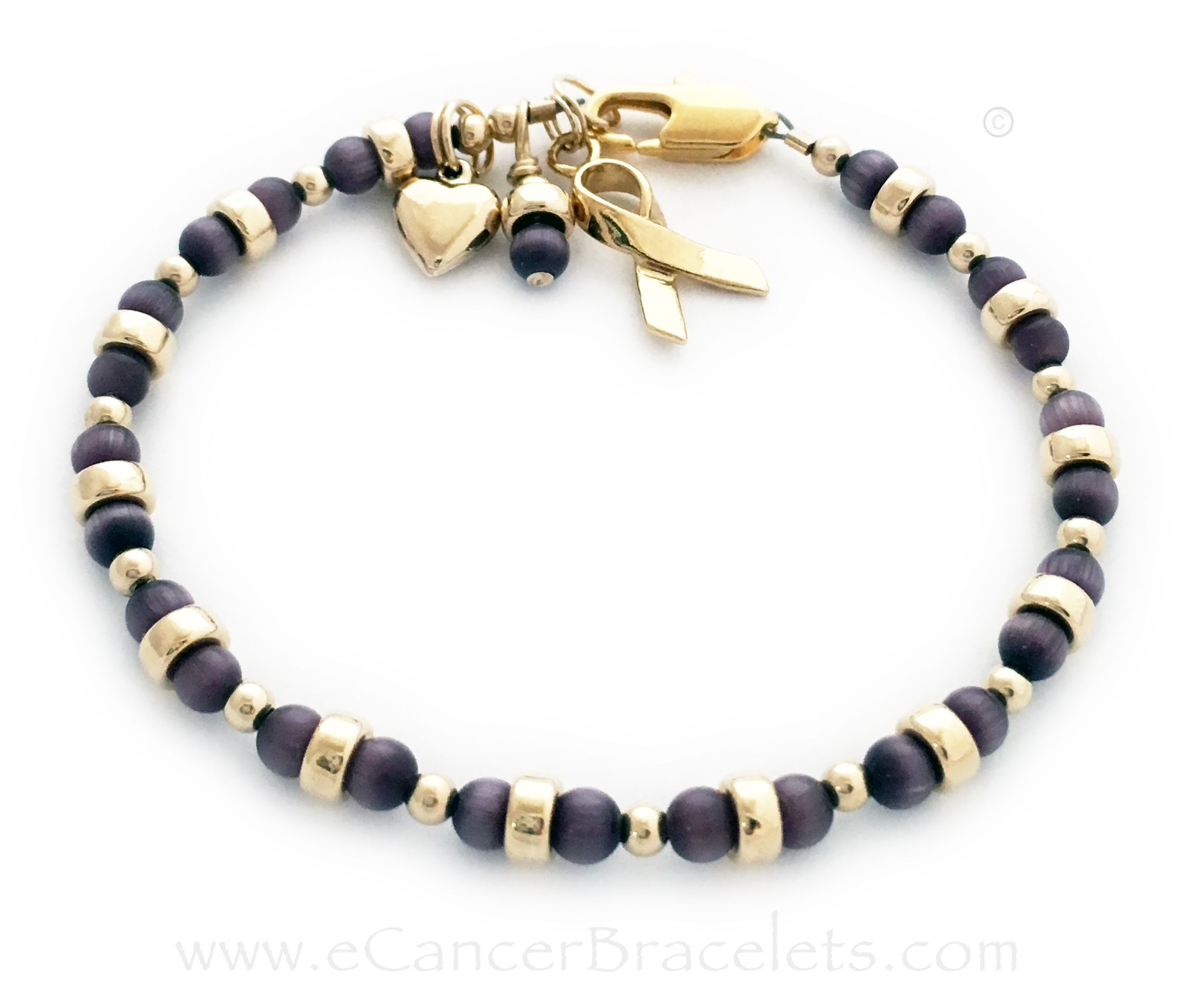 CBB-Ribbon 44 - This purple ribbon bracelet comes with the Gold Ribbon charm and purple dangle charm. Purple is shown for Pancreatic Cancer. They added the 14k gold-plated Puffed Heart Charms to their order. Size shown: 7 1/2""
