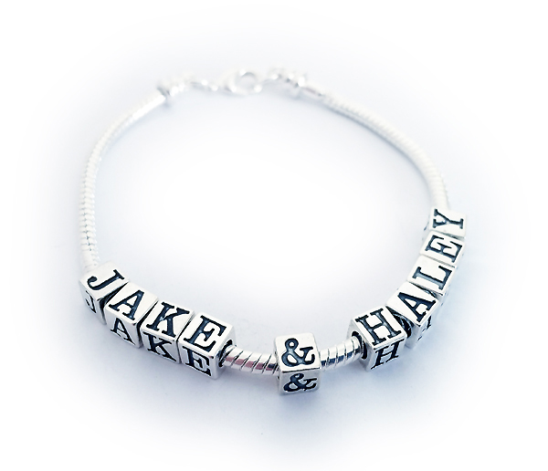Pandora bracelet with kids names jame halley charms