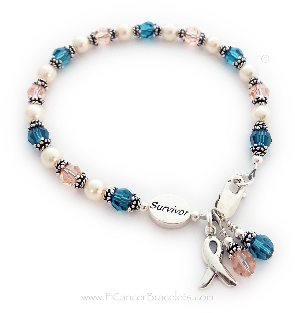 This is a Teal and Peach Ribbon Survivor Bracelet. It comes with a free clasp (lobster or toggle) , a Ribbon Charm and a Crystal Dangle Charm. They added an additional Crystal Dangle. One comes free with this design.
