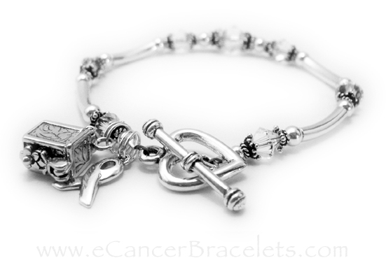 CBB-R35  This Lung Cancer Awareness Bracelet doesn't come with any charms. They upgraded the clasp from one of my free lobster or toggles to a Heart Toggle Clasp and they added 2 charms: A Prayer Box Charm and a Ribbon Charm.