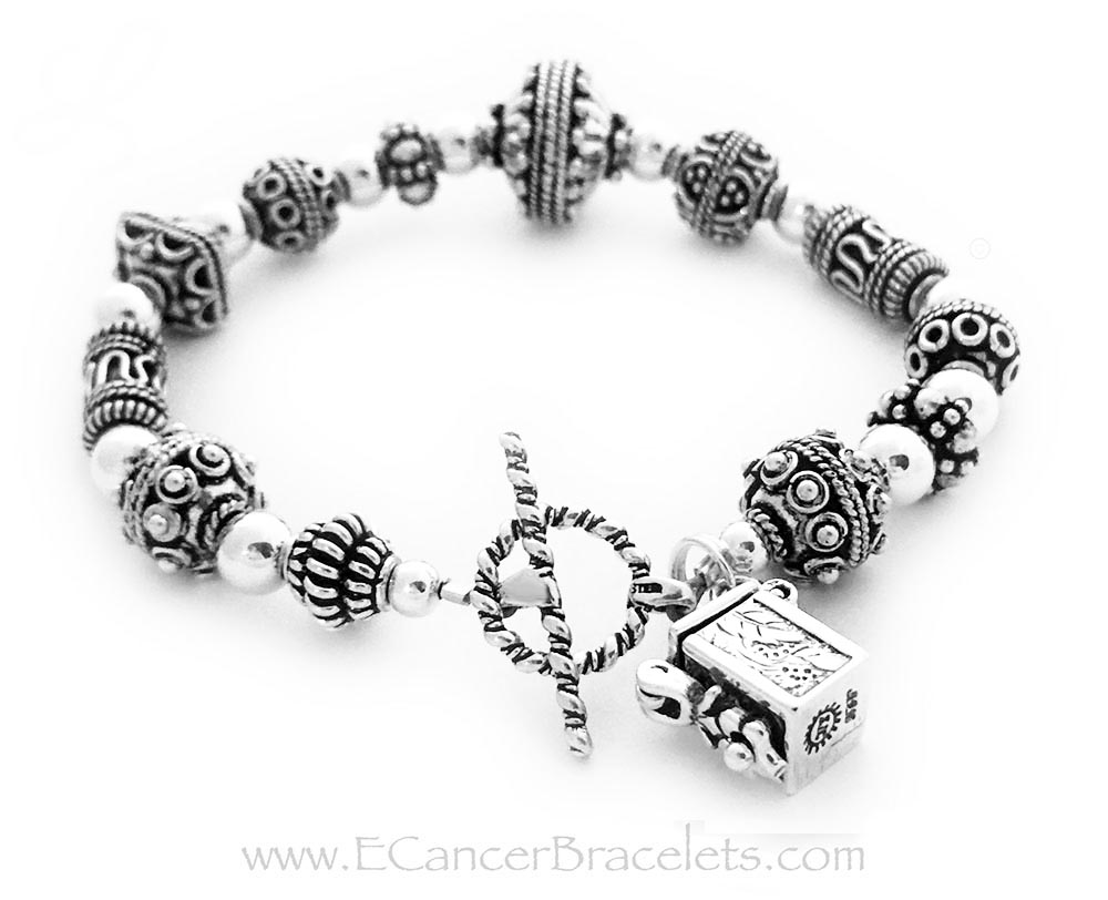 Prayer Box Bracelet with a Prayere Box Charm and Twisted Toggle Clasp