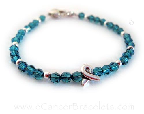 Uterine Ribbon Bracelet with Ribbon Charm (Teal)