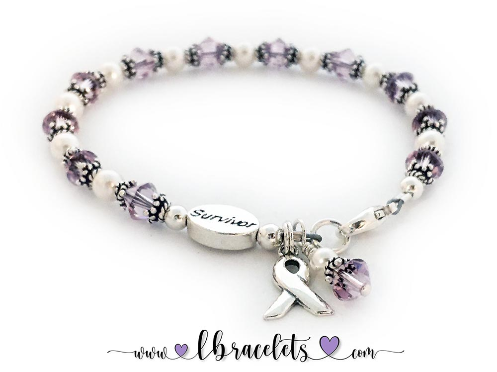 This is a Violet Ribbon Survivor Bracelet. It comes with a free clasp (lobster or toggle) , a Ribbon Charm, a Message Bead and a Crystal Dangle Charm.